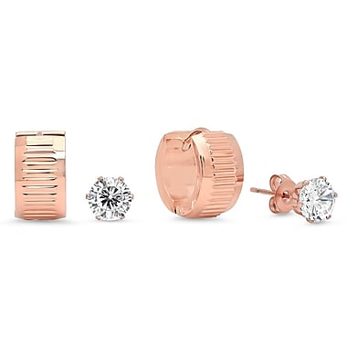HMY Jewelry 18k Rose Gold Plated Set of 2 CZ Studs & Striped Huggies, 6mm Stud 14mm Huggies, Rose