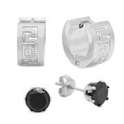 HMY Jewelry – Boucles d'oreilles à motifs grecs et boutons d'oreilles CZ noir en acier inoxydable, 5 mm et 13 mm, argenté