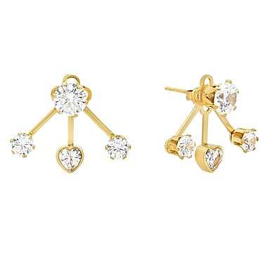 HMY Jewelry 18k Gold Plated Stainless Steel CZ Flower & Hearts Ear Jacket, 0.7