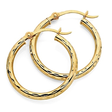HMY Jewelry 18k Gold Plated Stainless Steel Accented Hoops, 14mm, Yellow