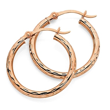 HMY Jewelry 18k Rose Gold Plated Stainless Steel Accented Hoops, 14mm, Rose