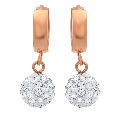 HMY Jewelry 18k Rose Gold Plated Stainless Steel CZ Fireball Drop Earrings, 1.1