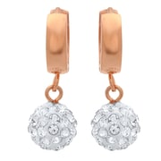 """HMY Jewelry 18k Rose Gold Plated Stainless Steel CZ Fireball Drop Earrings, 1.1"""", Rose"""