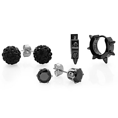 HMY Jewelry Stainless Steel Set of 3 Stainless Steel Black CZ Fireball, Stud, & Black IP Studded Huggies, Black