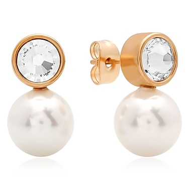 HMY Jewelry Adorned with Swarovski crystals 18k Rose Gold Plated Stainless Steel CZ & Simulated Pearl Drop Earrings, 0.7
