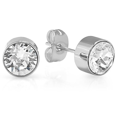 HMY Jewelry Adorned with Swarovski crystals White CZ Studs, 8mm, Silver