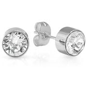 HMY Jewelry Adorned with Swarovski crystals White CZ Studs, 8mm, Silver