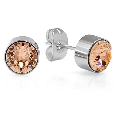 HMY Jewelry Adorned with Swarovski crystals Peach CZ Studs, 8mm, Silver