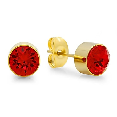 HMY Jewelry 18kt Gold Plated Stainless Steel Adorned with Swarovski crystals January Birthstone Earrings, 8mm, Yellow