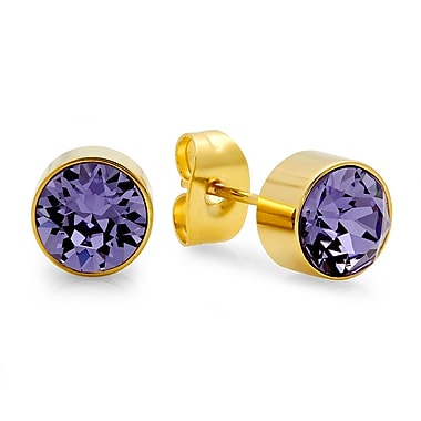 HMY Jewelry 18kt Gold Plated Stainless Steel Adorned with Swarovski crystals February Birthstone Earrings, 8mm, Yellow