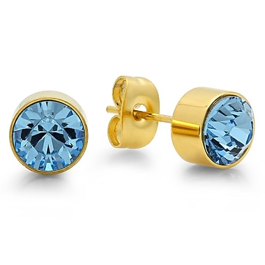 HMY Jewelry 18kt Gold Plated Stainless Steel Adorned with Swarovski crystals March Birthstone Earrings, 8mm, Yellow