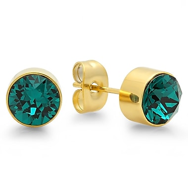 HMY Jewelry 18kt Gold Plated Stainless Steel Adorned with Swarovski crystals May Birthstone Earrings, 8mm, Yellow