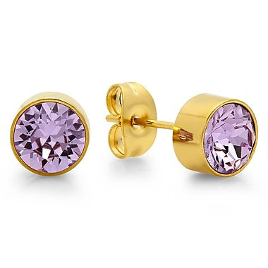 HMY Jewelry 18kt Gold Plated Stainless Steel Adorned with Swarovski crystals June Birthstone Earrings, 8mm, Yellow