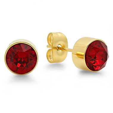 HMY Jewelry 18kt Gold Plated Stainless Steel Adorned with Swarovski crystals July Birthstone Earrings, 8mm, Yellow