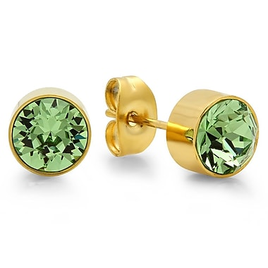 HMY Jewelry 18kt Gold Plated Stainless Steel Adorned with Swarovski crystals August Birthstone Earrings, 8mm, Yellow