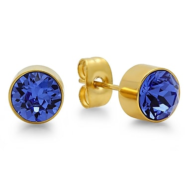 HMY Jewelry 18kt Gold Plated Stainless Steel Adorned with Swarovski crystals September Birthstone Earrings, 8mm, Yellow