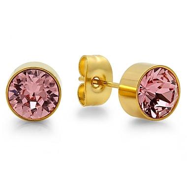 HMY Jewelry 18kt Gold Plated Stainless Steel Adorned with Swarovski crystals October Birthstone Earrings, 8mm, Yellow