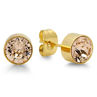 HMY Jewelry 18kt Gold Plated Stainless Steel Adorned with Swarovski crystals November Birthstone Earrings, 8mm, Yellow