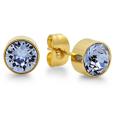 HMY Jewelry 18kt Gold Plated Stainless Steel Adorned with Swarovski crystals December Birthstone Earrings, 8mm, Yellow