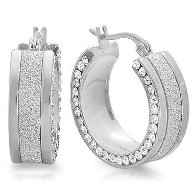 HMY Jewelry Stainless Steel Glitter & CZ Hoops, 25mm, Silver