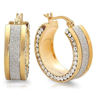 HMY Jewelry 18k Gold Plated Stainless Steel Glitter & CZ Hoops, 25mm, Yellow