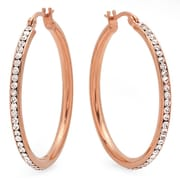 HMY Jewelry 18k Rose Gold Plated Stainless Steel CZ Lined Hoops, 40mm, Silver