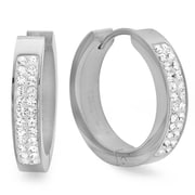 HMY Jewelry Stainless Steel Adorned with Swarovski crystals Huggies, 20mm, Silver