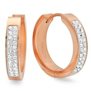 HMY Jewelry 18k Rose Gold Plated Stainless Steel Adorned with Swarovski crystals Huggies, 20mm, Rose