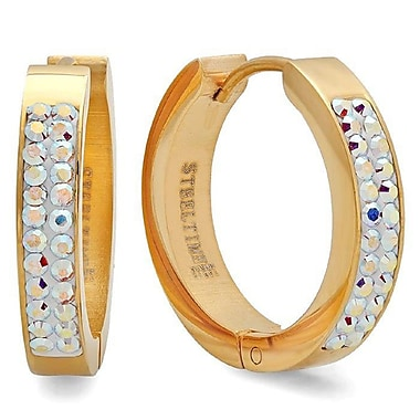 HMY Jewelry 18k Gold Plated Stainless Steel Aurora Borealis Adorned with Swarovski crystals Huggies, 20mm, Yellow