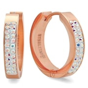 HMY Jewelry 18k Rose Gold Plated Stainless Steel Aurora Borealis Adorned with Swarovski crystals Huggies, 20mm, Rose