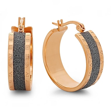 HMY Jewelry 18k Rose Gold Plated Stainless Steel Black Glitter & Roman Numeral Hoops, 25mm, Rose