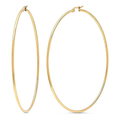 HMY Jewelry 18k Gold Plated Stainless Steel Classic Hoops, 90mm, Yellow