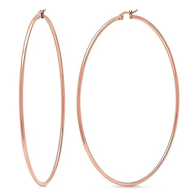 HMY Jewelry 18k Rose Gold Plated Stainless Steel Classic Hoops, 90mm, Rose