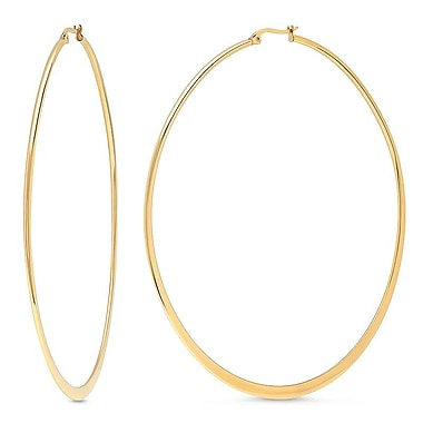 HMY Jewelry 18k Gold Plated Stainless Steel Flat End Hoops, 90mm, Yellow