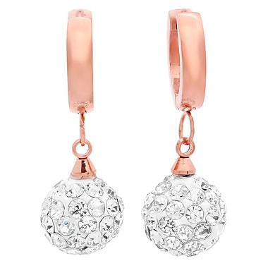 HMY Jewelry 18k Rose Gold Plated Stainless Steel Fireball CZ Drop Earrings, 1
