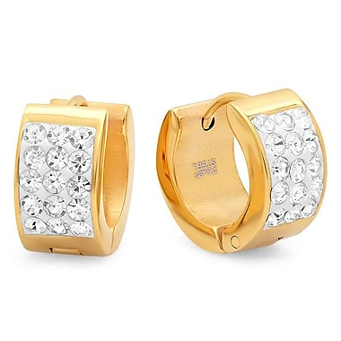 HMY Jewelry Adorned with Swarovski crystals 18k Gold Plated Stainless Steel Huggies, 14mm, Yellow
