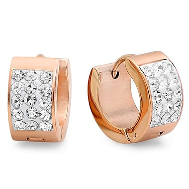 HMY Jewelry Adorned with Swarovski crystals 18k Rose Gold Plated Stainless Steel Huggies, 14mm, Rose