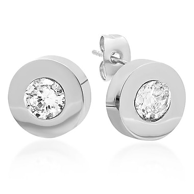 HMY Jewelry Adorned with Swarovski crystals Stainless Steel Studs, 12mm, Silver