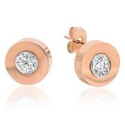 HMY Jewelry - Boutons d'oreilles en acier inoxydable plaqué or rose 18 ct, ornées de cristaux Swarovski, 12 mm, rose
