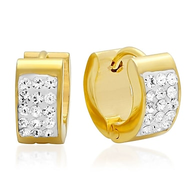 HMY Jewelry Adorned with Swarovski crystals 18k Gold Plated Stainless Steel Huggies, 12mm, Yellow