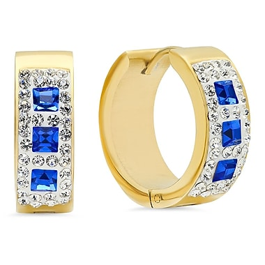 HMY Jewelry 18k Gold Plated Stainless Steel CZ & Blue Crystal Hoops, 20mm, Yellow
