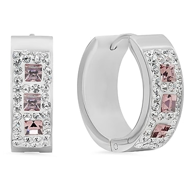 HMY Jewelry Stainless Steel CZ & Pink Crystal Hoops, 20mm, Silver