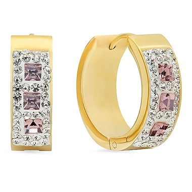 HMY Jewelry 18k Gold Plated Stainless Steel CZ & Pink Crystal Hoops, 20mm, Yellow