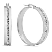HMY Jewelry Stainless Steel CZ Inlay Hoops, 40mm, Silver