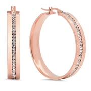 HMY Jewelry 18k Rose Gold Plated Stainless Steel CZ Inlay Hoops, 40mm, Rose