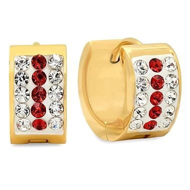 HMY Jewelry 18k Gold Plated Stainless Steel Red & White CZ Huggies, 13mm, Yellow