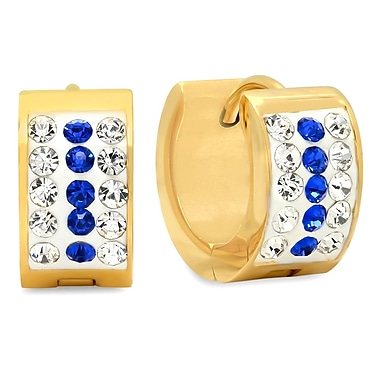 HMY Jewelry 18k Gold Plated Stainless Steel Blue & White CZ Huggies, 13mm, Yellow