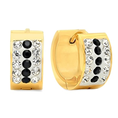 HMY Jewelry 18k Gold Plated Stainless Steel Black & White CZ Huggies, 13mm, Yellow