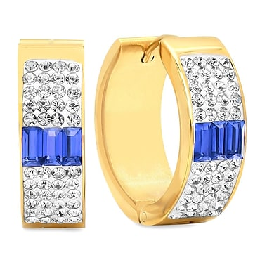 HMY Jewelry 18k Gold Plated Stainless Steel White & Blue CZ Hoops, 20mm, Yellow
