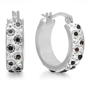 HMY Jewelry Stainless Steel Black & White Crystal Hoops, 20mm, Silver